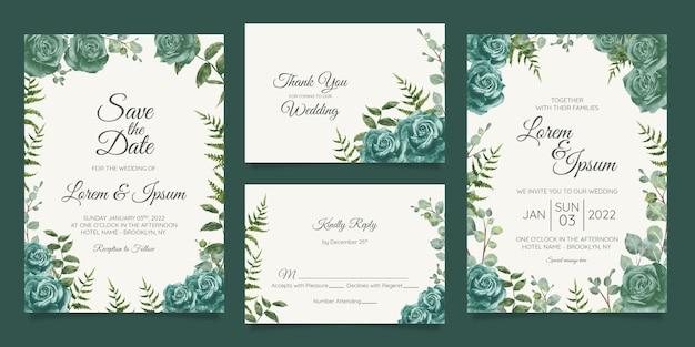 Piękny szablon zaproszenia ślubne zestaw z geometryczną ramą kwiatowy