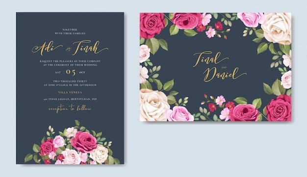 Piękny szablon zaproszenia ślubne zestaw z kwiatowy wzór