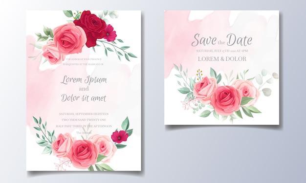 Piękny szablon zaproszenia ślubne zestaw z ramą kwiatowy