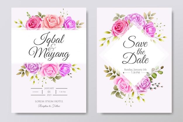Piękny szablon zaproszenia ślubne