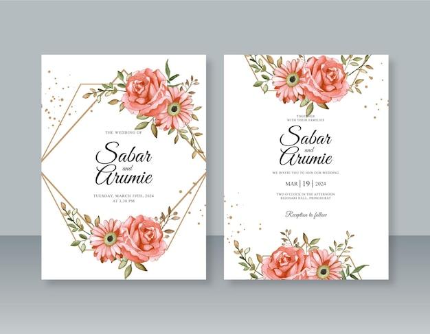 Piękny Szablon Zaproszenia ślubnego Z Geometryczną Ramką I Akwarelą Premium Wektorów