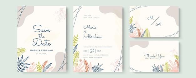 Piękny szablon zaproszenia ślubnego z ręcznie rysowanymi kwiatami i liśćmi w delikatnym pastelowym kolorze