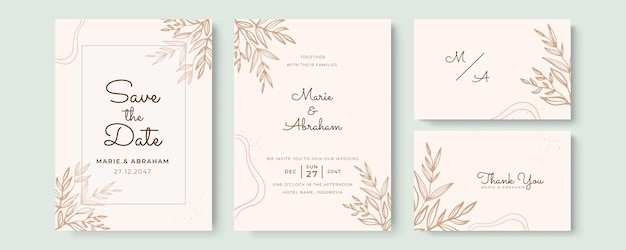 Piękny szablon zaproszenia ślubnego z ręcznie rysowanymi kwiatami i liśćmi w pastelowym kolorze