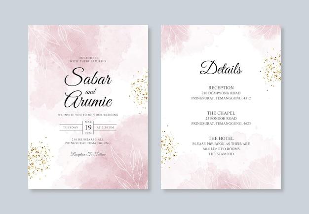 Piękny szablon zaproszenia ślubnego