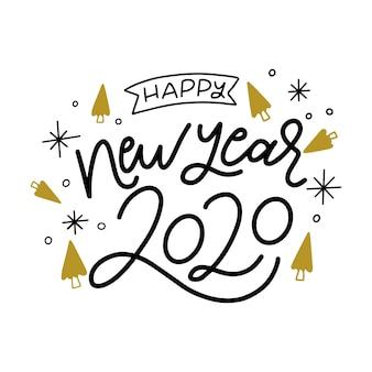 Piękny szczęśliwego nowego roku 2020 napis