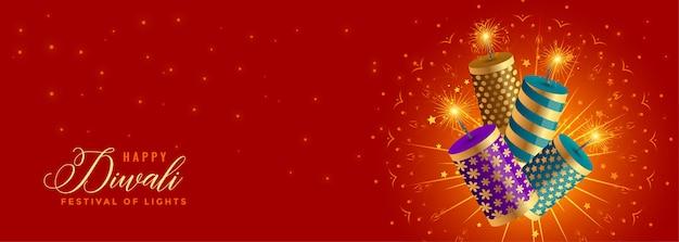 Piękny Szczęśliwy Diwali Krakersy Celebracja Banner Darmowych Wektorów