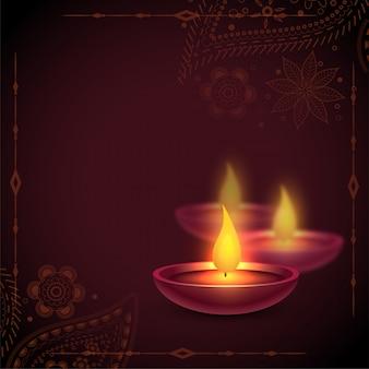 Piękny szczęśliwy diwali oleju diya lampy tło