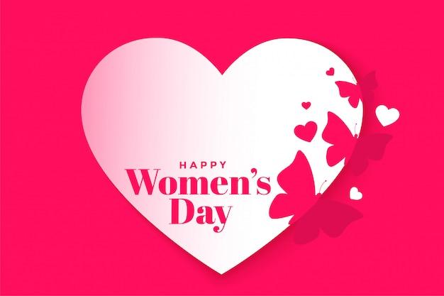 Piękny szczęśliwy dzień kobiet plakat serca i motyla