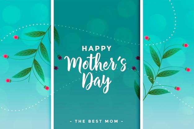 Piękny szczęśliwy dzień matki kwiatowy pozdrowienie