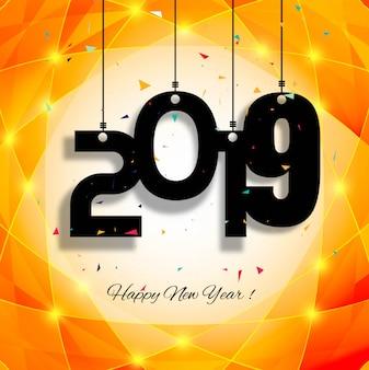 Piękny szczęśliwy nowego roku 2019 teksta tło