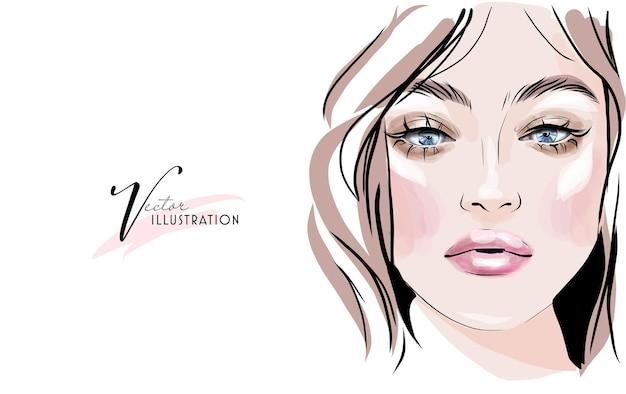 Piękny szkic pięknego makijażu oczu i ust