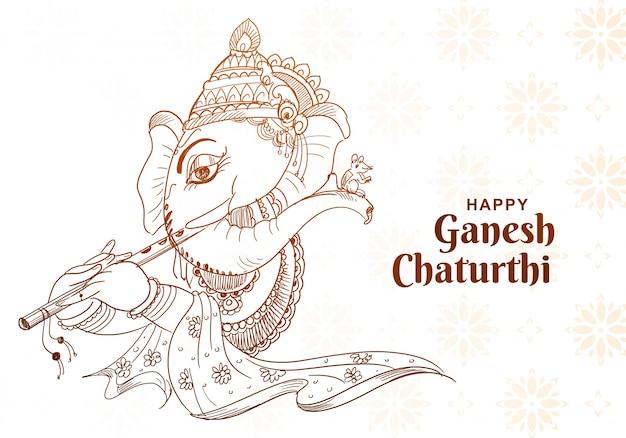 Piękny szkic sztuka projekt karty ganesh chaturthi