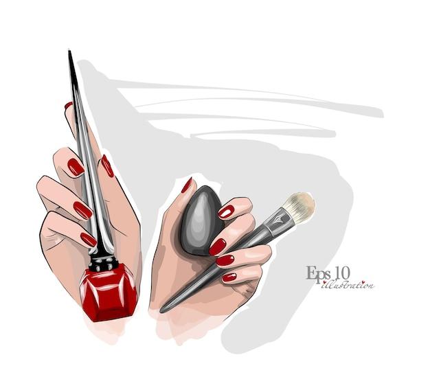 Piękny szkic w rękach pędzelka do aplikacji podkładu i eyelinera