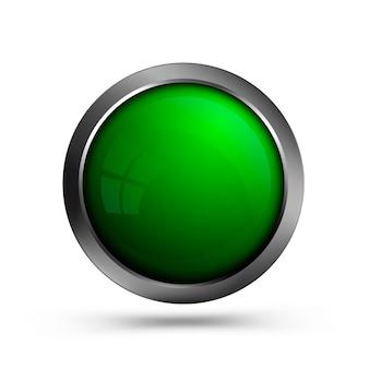 Piękny szklany przycisk zielony