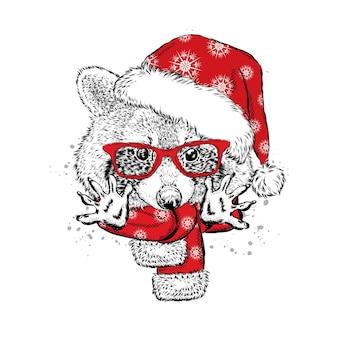 Piękny szop pracz w ubraniach świątecznych i noworocznych