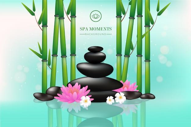Piękny tło zdrój z kamieniami, kwiatami i bambusem