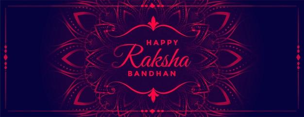 Piękny transparent dekoracyjny w stylu raksha bandhan w stylu neonowym
