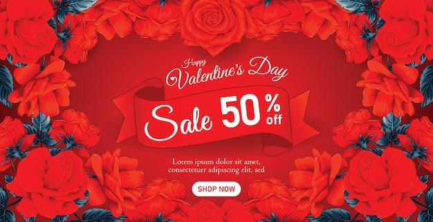 Piękny transparent lub plakat sprzedaży szczęśliwych walentynek z czerwonymi kwiatami róży.