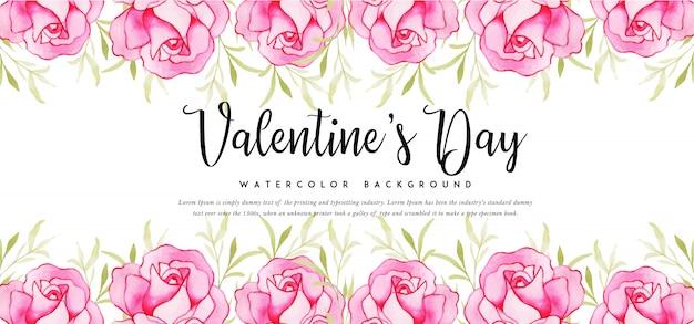 Piękny transparent valentine akwarela