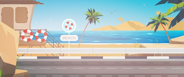 Piękny tropikalny krajobraz plaży lato nadmorski z palmą i sylwetką