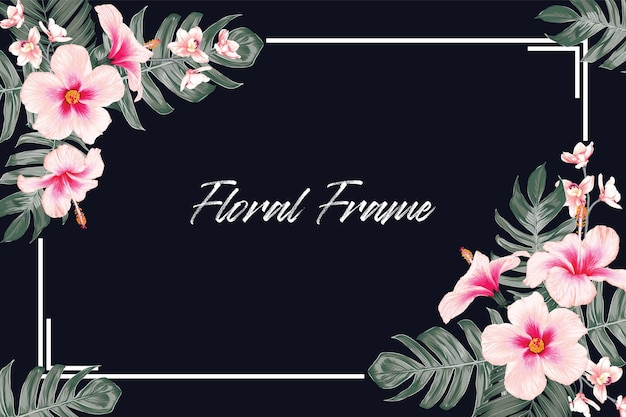 Piękny tropikalny kwiat i liście rama