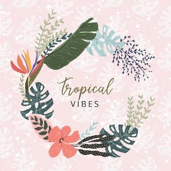 Piękny tropikalny wieniec kwiatowy lato