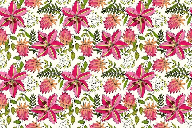 Piękny tropikalny wzór kwiatowy