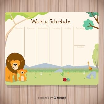 Piękny tygodniowy harmonogram z płaskimi designie