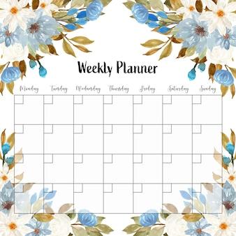 Piękny tygodniowy terminarz w niebiesko-biały kwiatowy
