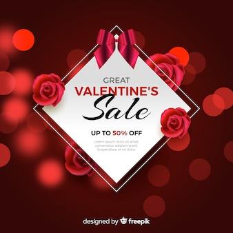 Piękny valentines dnia sprzedaży tło