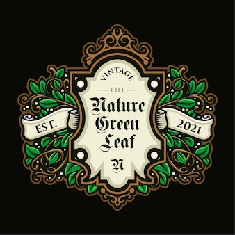 Piękny vintage liść logo i szablon etykiety