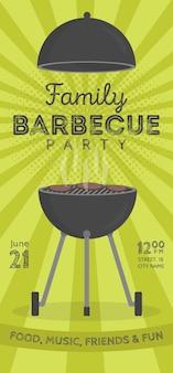 Piękny wektor grill party zaproszenie szablon projektu. modny projekt plakatu bbq cookout z klasycznym grillem na węgiel drzewny, widelcem, łopatką do gotowania i przykładowym tekstem