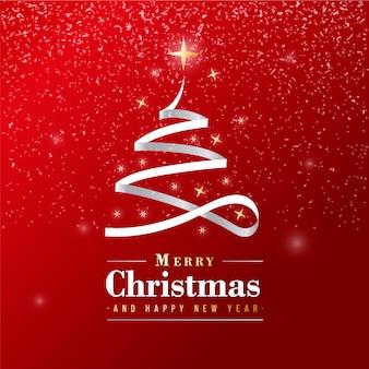 Piękny wesołych świąt banner ze srebrną wstążką