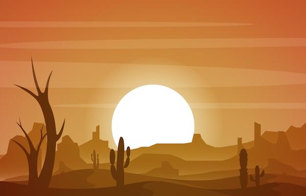 Piękny western pustyni krajobraz z niebo skały falezy góry ilustracją