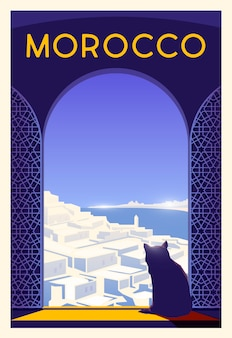 Piękny widok na miasto w słoneczny dzień z historycznymi muzułmańskimi budynkami, kot, morze. czas na podróż. dookoła świata. plakat jakości. maroko.