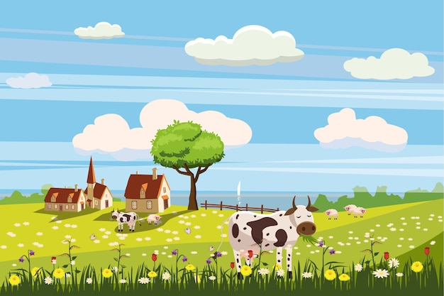 Piękny wiejski krajobraz wiejski, wypas krów, farma, kwiaty, pastwisko