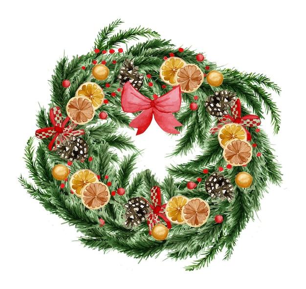 Piękny wieniec bożonarodzeniowy akwarela z pomarańczą i dekoracją