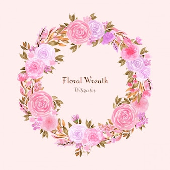 Piękny wieniec kwiatowy akwarela z pastelowymi różowymi różami