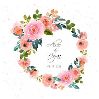 Piękny wieniec kwiatowy akwarela