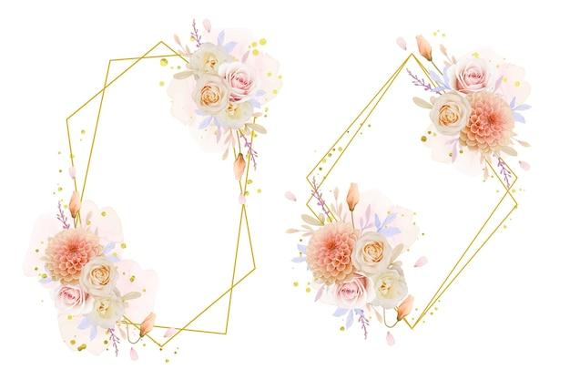 Piękny wieniec kwiatowy z akwarelą różą i kwiatem dalii