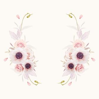 Piękny wieniec kwiatowy z akwarela różowe róże i kwiat anemony