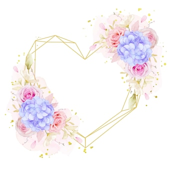 Piękny wieniec kwiatowy z akwarelowymi różami i niebieskim kwiatem hortensji