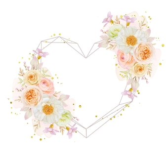 Piękny wieniec kwiatowy z akwarelowymi różami piwonii i kwiatem jaskier