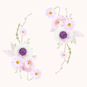 Piękny wieniec kwiatowy z kwiatem akwarela ukwiały