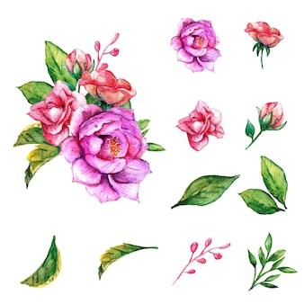 Piękny wiosenny akwarela fioletowy bukiet kwiatów