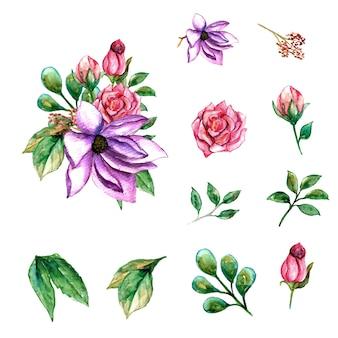 Piękny wiosenny fioletowy kwiat akwarela