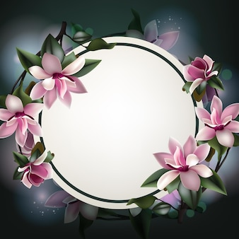 Piękny wiosenny kwiat tło szablon z miejsca na kopię i ramki