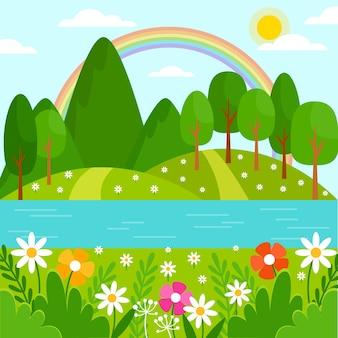 Piękny wiosna krajobraz z kwiatami i drzewami