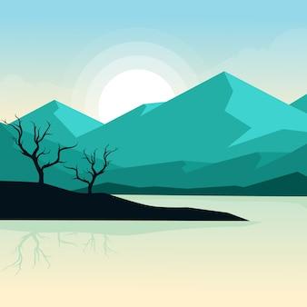 Piękny wschód słońca krajobraz natury