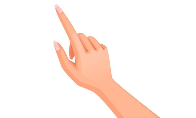 Piękny wskaźnik dłoni. kobieca ręka